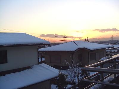 冬景色の夕焼け